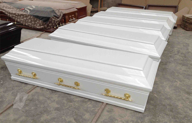 White Greece Wooden Coffins With Lining And Lid Lining 200x49 / 65/43x52cm